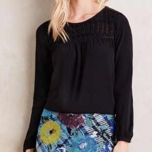 EUC Anthropologie Meadow Rue Vivie Blouse Black